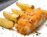 Bacalao con gajos de patatas