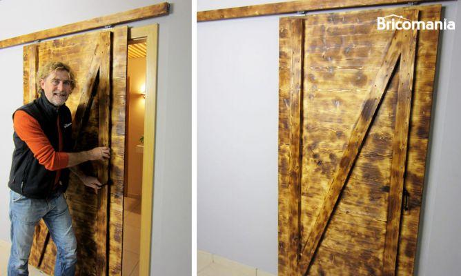 Puerta corredera r stica bricoman a for Construir puerta corredera