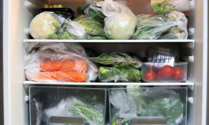 Comida congelada en un refrigerador pequeñio