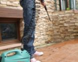 Limpiar la terraza con limpiadora a presión