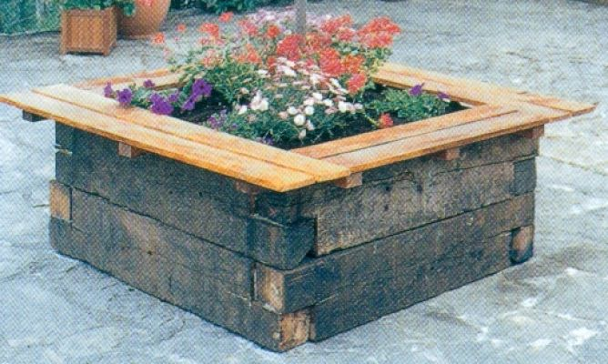 Jardinera o contenedor grande de madera bricoman a - Como hacer una jardinera ...