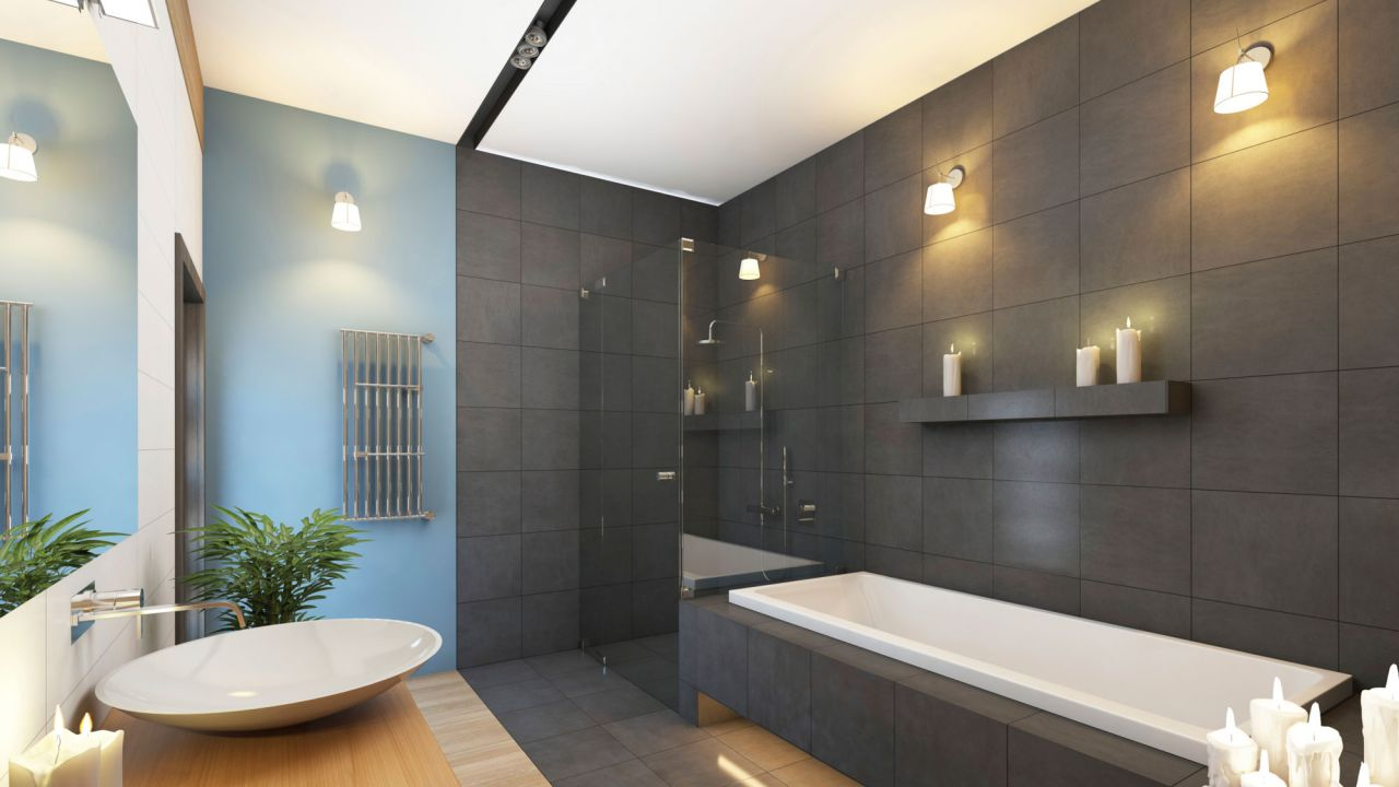 Ideas para decorar el baño en color negro - La iluminación