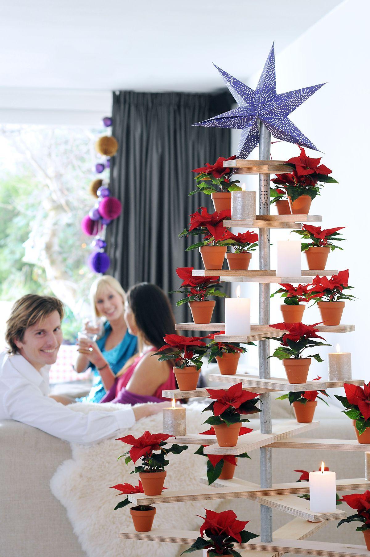 Decorar un árbol de Navidad de madera con flor de pascua