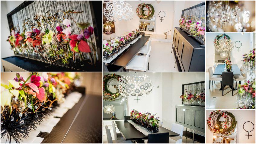 decoracin navidea moderna con flor de pascua