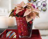 jarrón de Navidad con madeja de lana reciclada