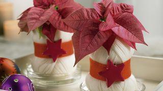 Florero de Navidad con madeja de lana reciclada