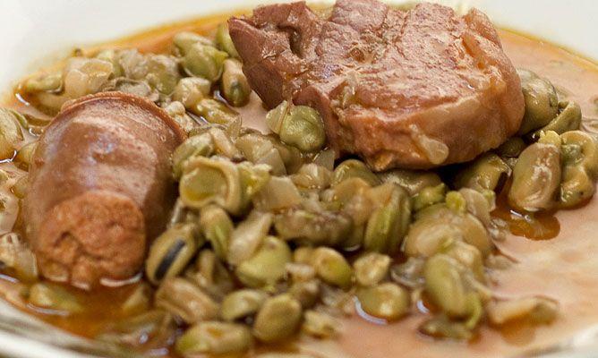 Receta de habas con jam n y chorizo - Habas frescas con jamon ...