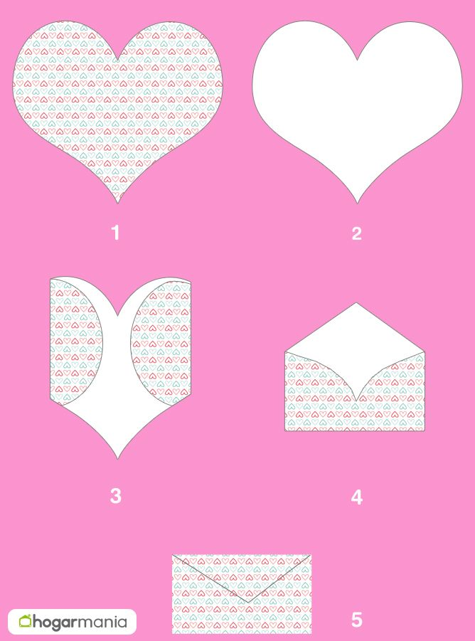 Hacer un sobre con un corazón para San Valentín - paso a paso