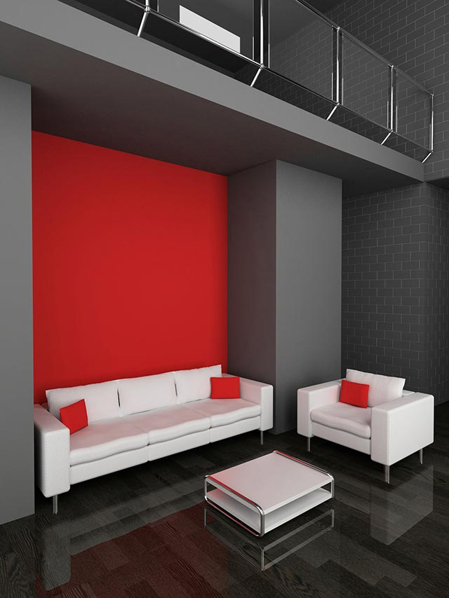Decorar sal n en rojo negro y gris hogarmania for Decorar piso gris