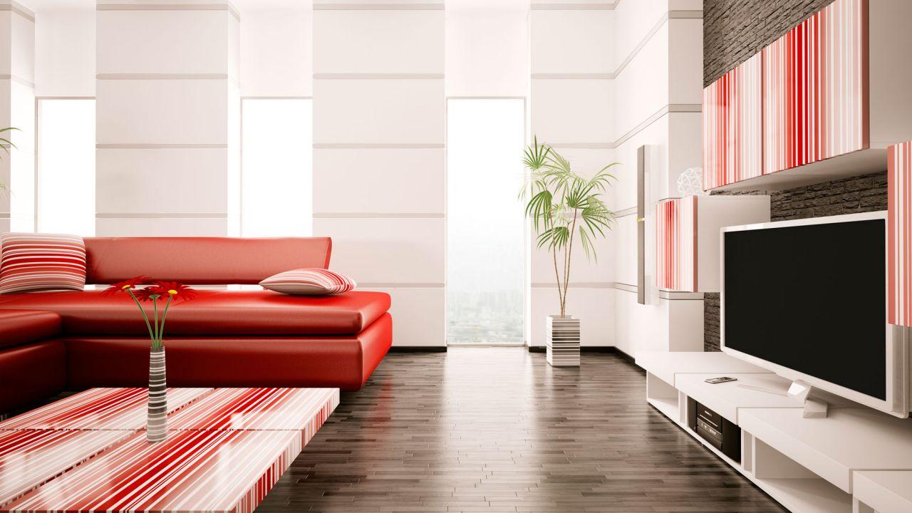 8ae1d7a0 Decorar salón en rojo, negro y gris - Estilo moderno