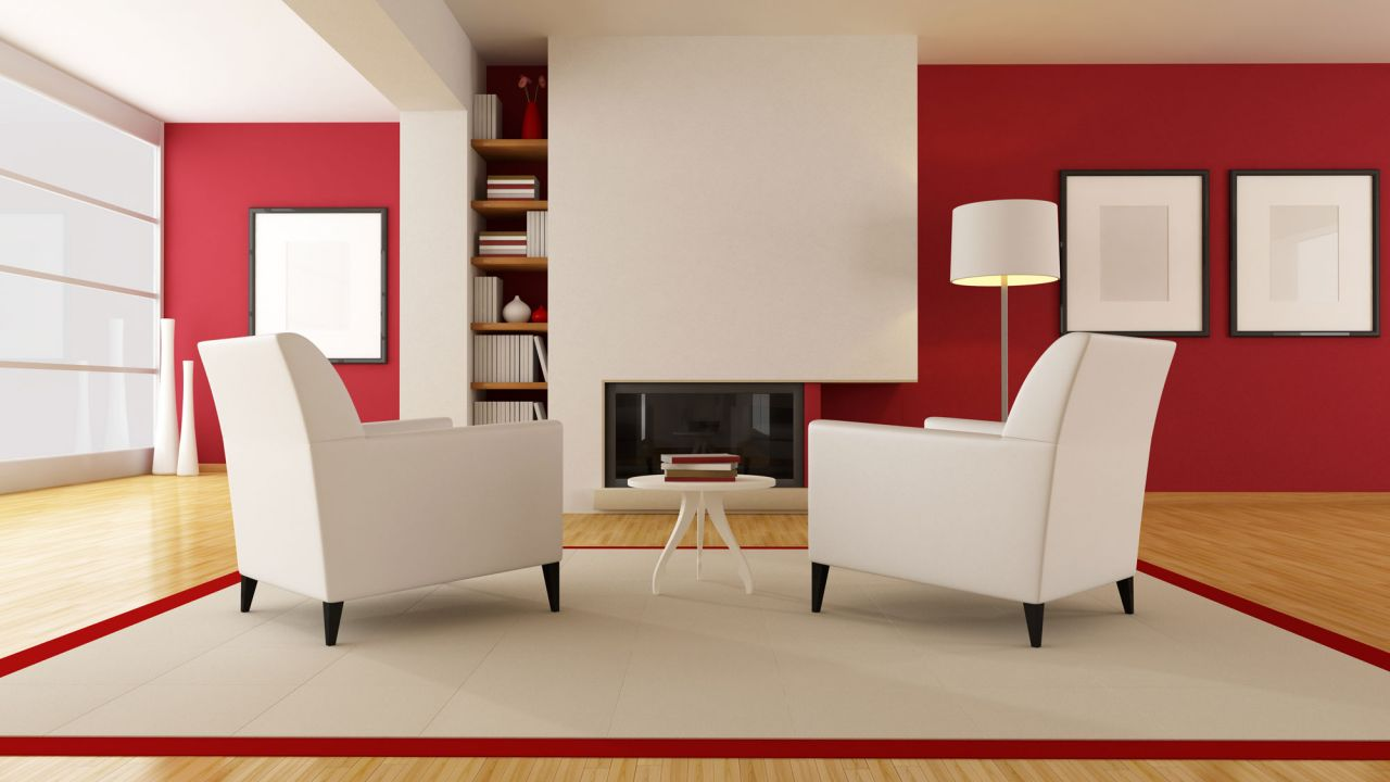 5bb5f0fb Decorar salón en rojo, negro y gris - Color rojo y blanco