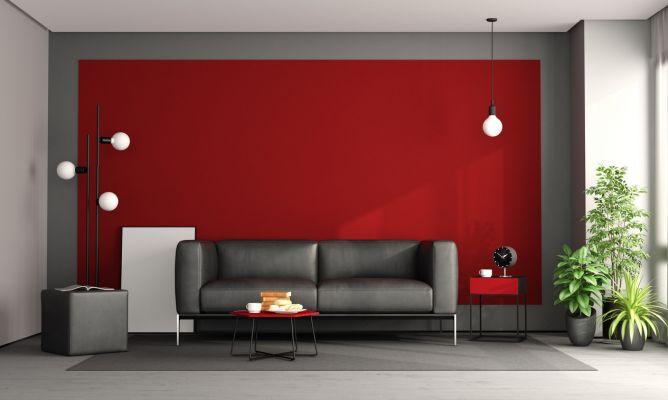 Decorar salón en rojo, negro y gris   hogarmania