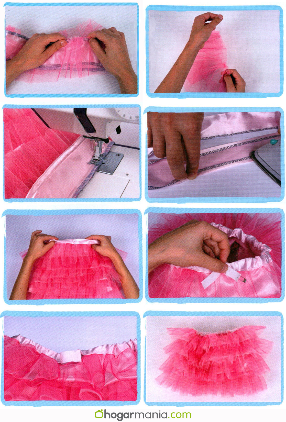coser falda de volantes de tul