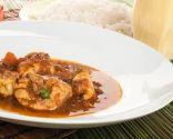 Curry rojo de pollo y lassi de mango