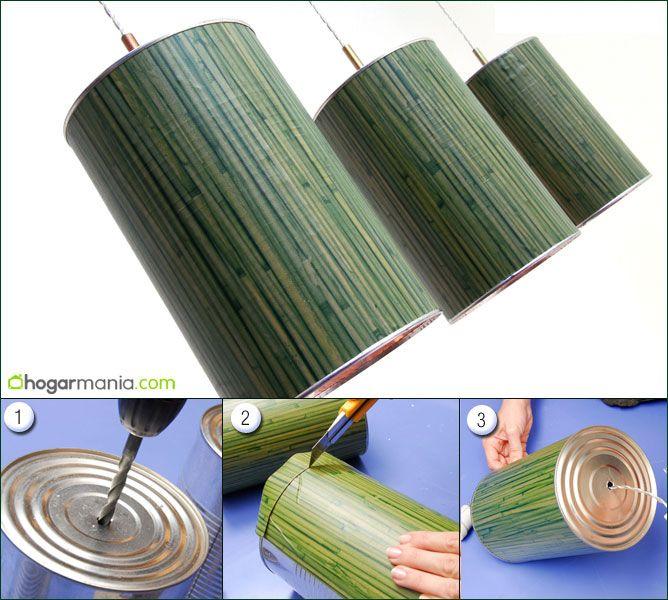 C mo hacer una l mpara con una lata decogarden - Como hacer una lampara de pared ...