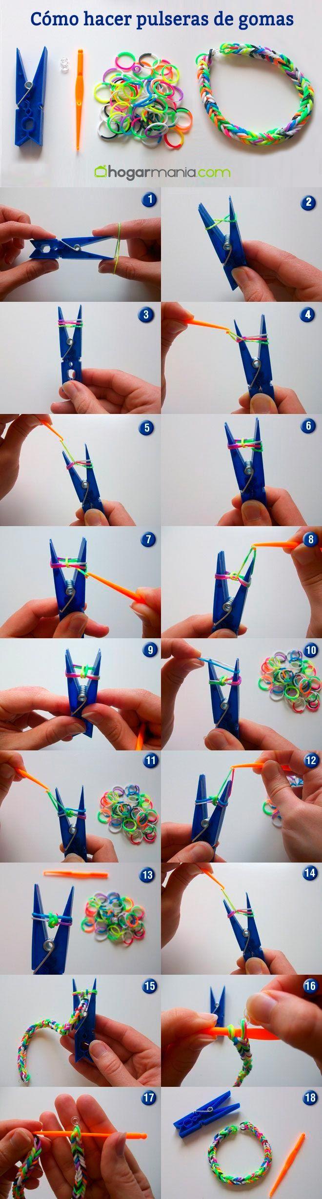 Hacer pulseras de gomas hogarmania - Comment faire les bracelet elastique ...