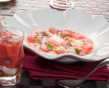 Gazpacho de fresas con verdel marinado