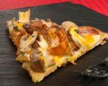 Pizza de setas, foie y yema