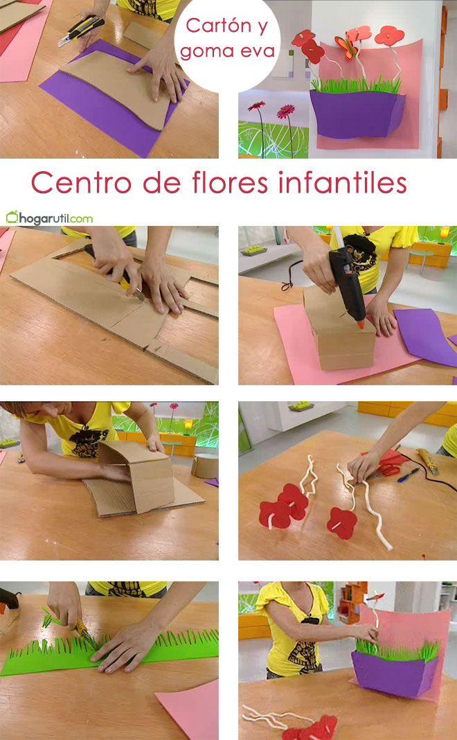 centro flores infantiles de cartón y goma eva - pasos