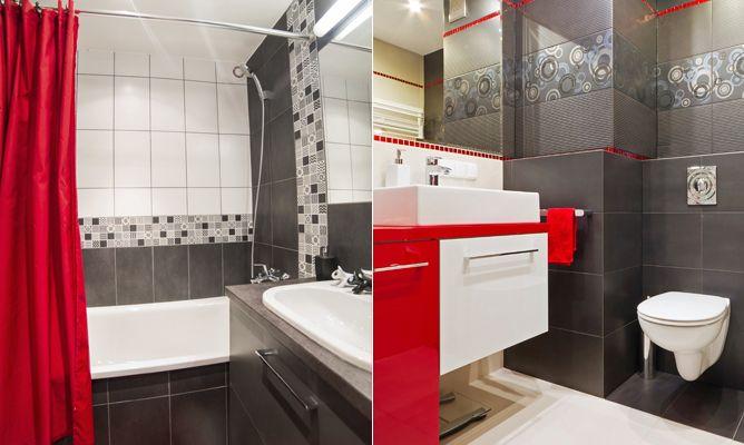 Decorar el ba o en rojo y gris hogarmania - Como decorar un bano blanco ...