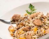 Ensalada de arroz, pollo y mango