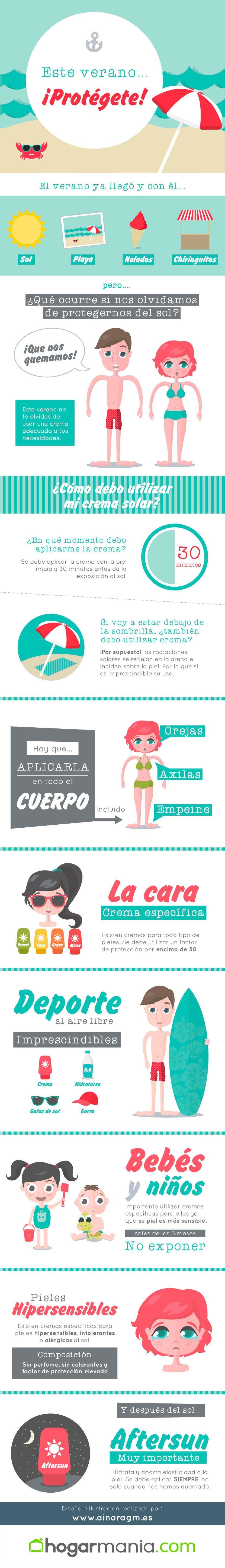 infografía usos cremas sol verano