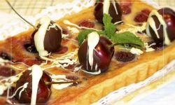 tarta rústica de cerezas