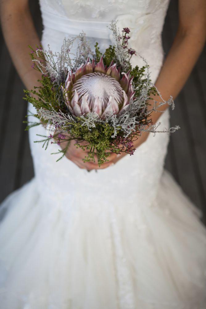 Protea como ramo de novia