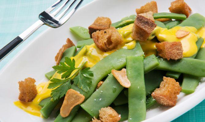 Receta de jud as verdes con pan frito y mahonesa de - Escuela de cocina azafran ...