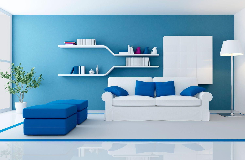 C mo combinar un sof azul hogarmania for Paredes turquesa y gris
