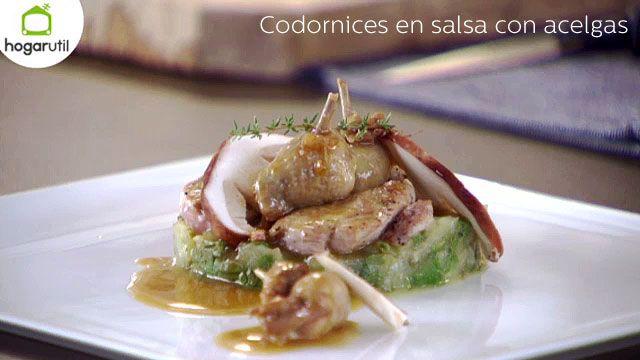 Codornices en salsa con acelgas