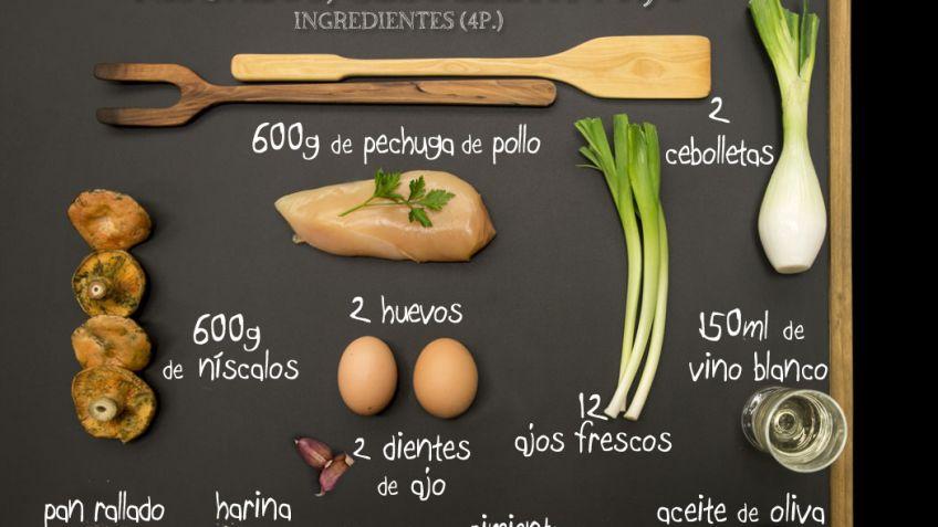 Receta De Filetes De Pollo Con Níscalos Cebolleta Y Ajo Karlos