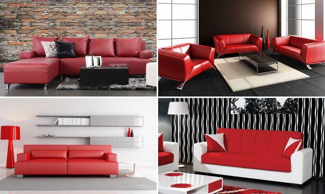 Combinar sofá de color rojo  Hogarmania
