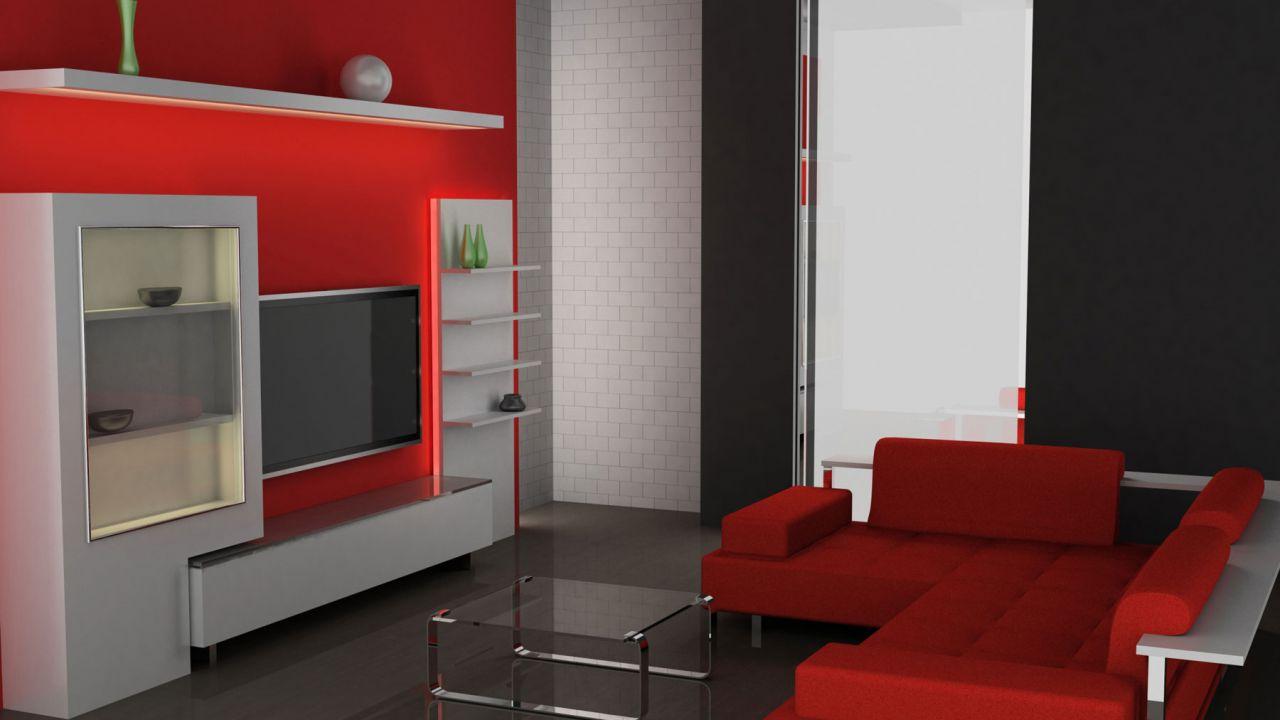 a3dbc630 Combinar sofá de color rojo - Alfombra y cojines grises
