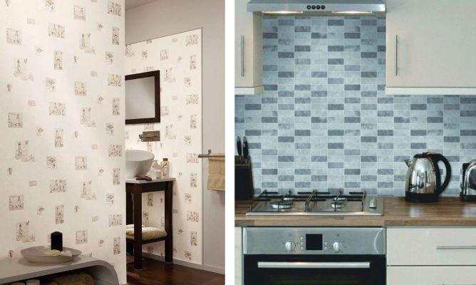 Papel pintado para cocinas y ba os hogarmania - Papel pintado para azulejos ...