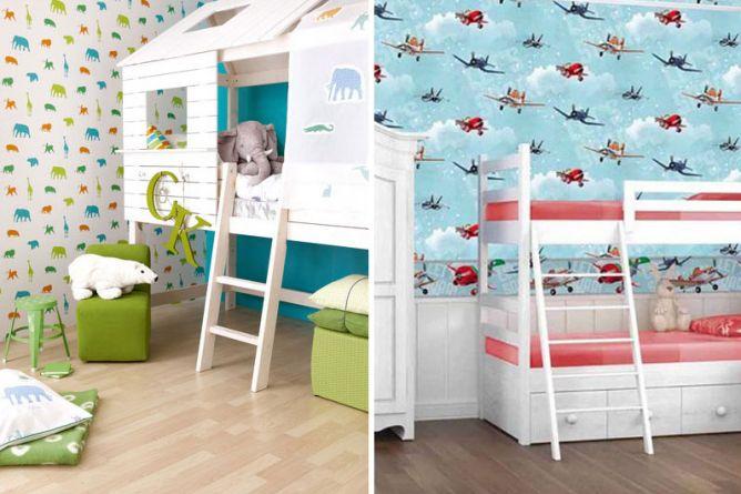 papel pintado infantil como pared de literas