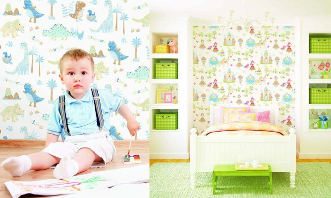 Papel pintado para paredes de habitaciones infantiles for Papel pintado infantil