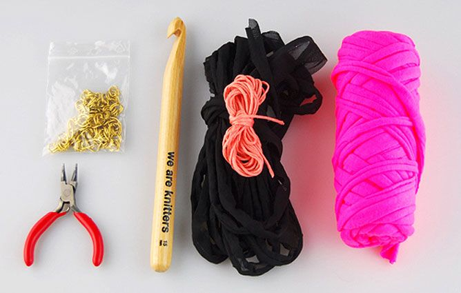 tejer collar de trapillo y algodón con cadenas - materiales