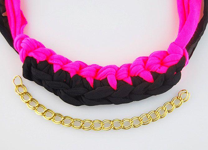 tejer collares de trapillo y algodón con cadenas - paso 5