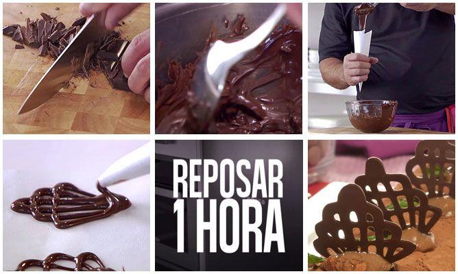 Cómo hacer peinetas de chocolate para decorar postres