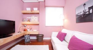 Decorar una sala peque�a en color rosa