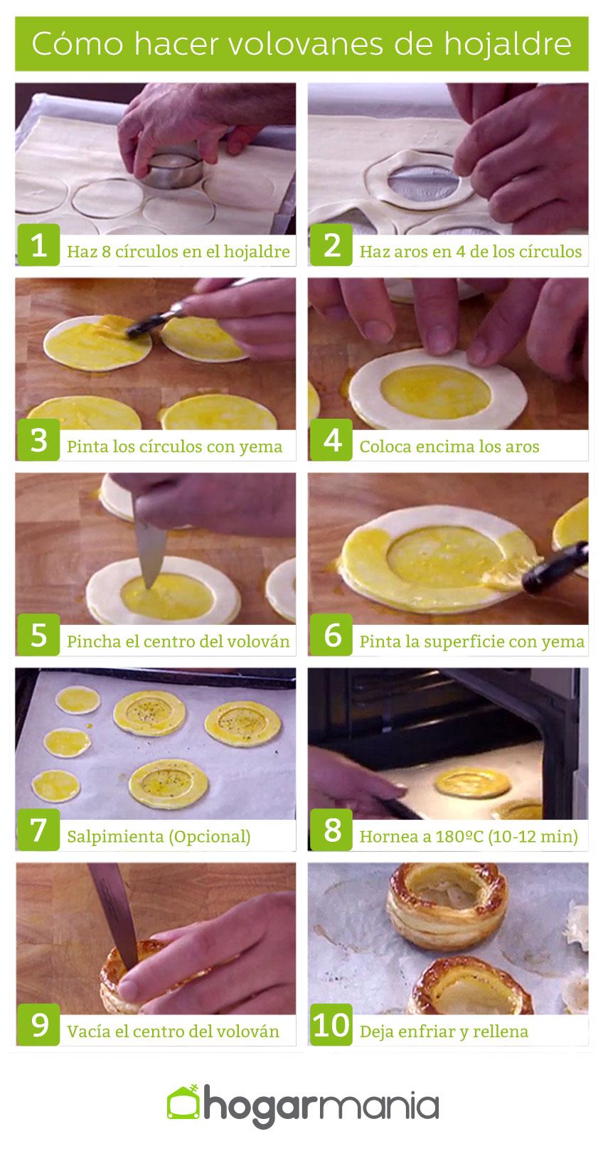 Cómo hacer volovanes caseros de hojaldre