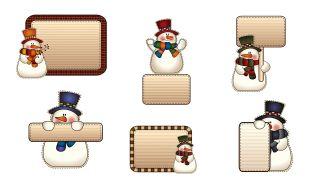 Etiquetas estilo muñeco de nieve