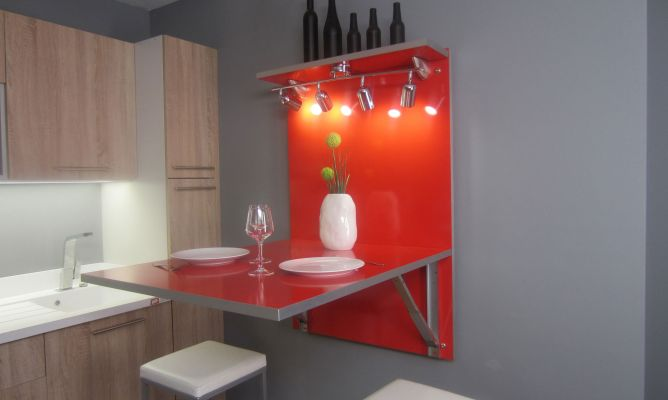 Mesa abatible de cocina bricoman a - Mesa abatible pared ...