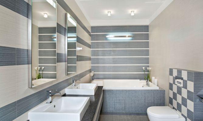 Decorar Un Baño Gris:Decorar baño grande en gris azulado – Hogarmania