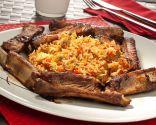 Wok de arroz, costilla y verduras