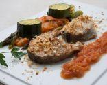 Bacalao fresco con hortalizas asadas