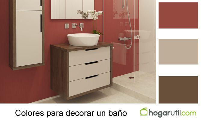 Decorar Un Baño Rojo:Utilizar un color rojo en la pared y combinarlos con un crema y el