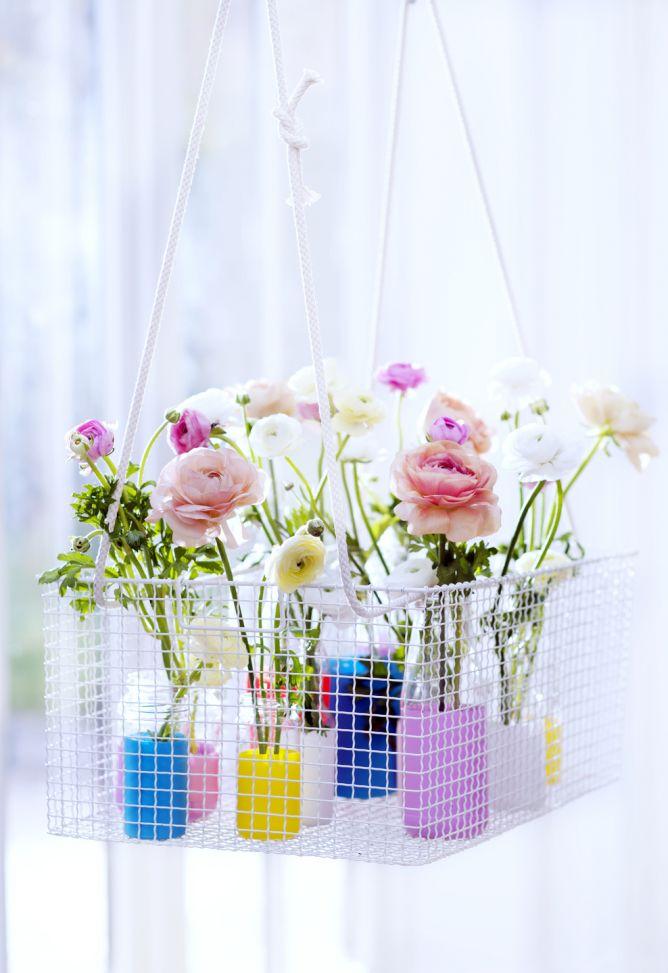 Tarros de cristal como floreros