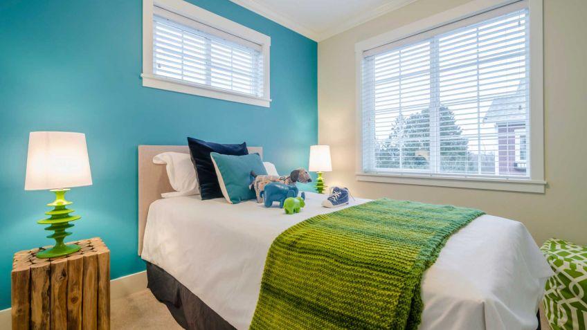 Verde, azul y blanco para un dormitorio juvenil - Hogarmania
